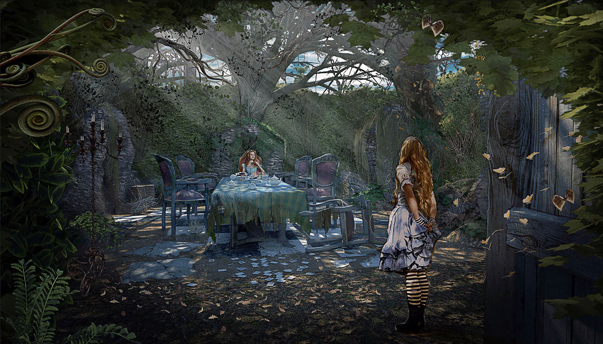 "ONCE UPON A TIME: S7 - NEW WONDERLAND ""MAZE COURTYARD TEA PARTY"" - CONCEPT - 3D/RENDERING - CHAD HARMS / ILLUSTRATION: PAOLO VENTURI"