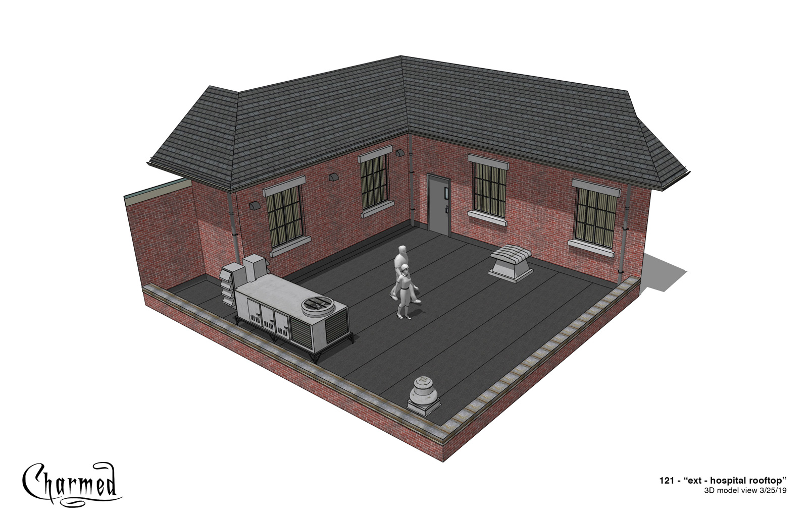 CHARMED: S1 - HOSPITAL ROOFTOP - 3D MODEL VIEW