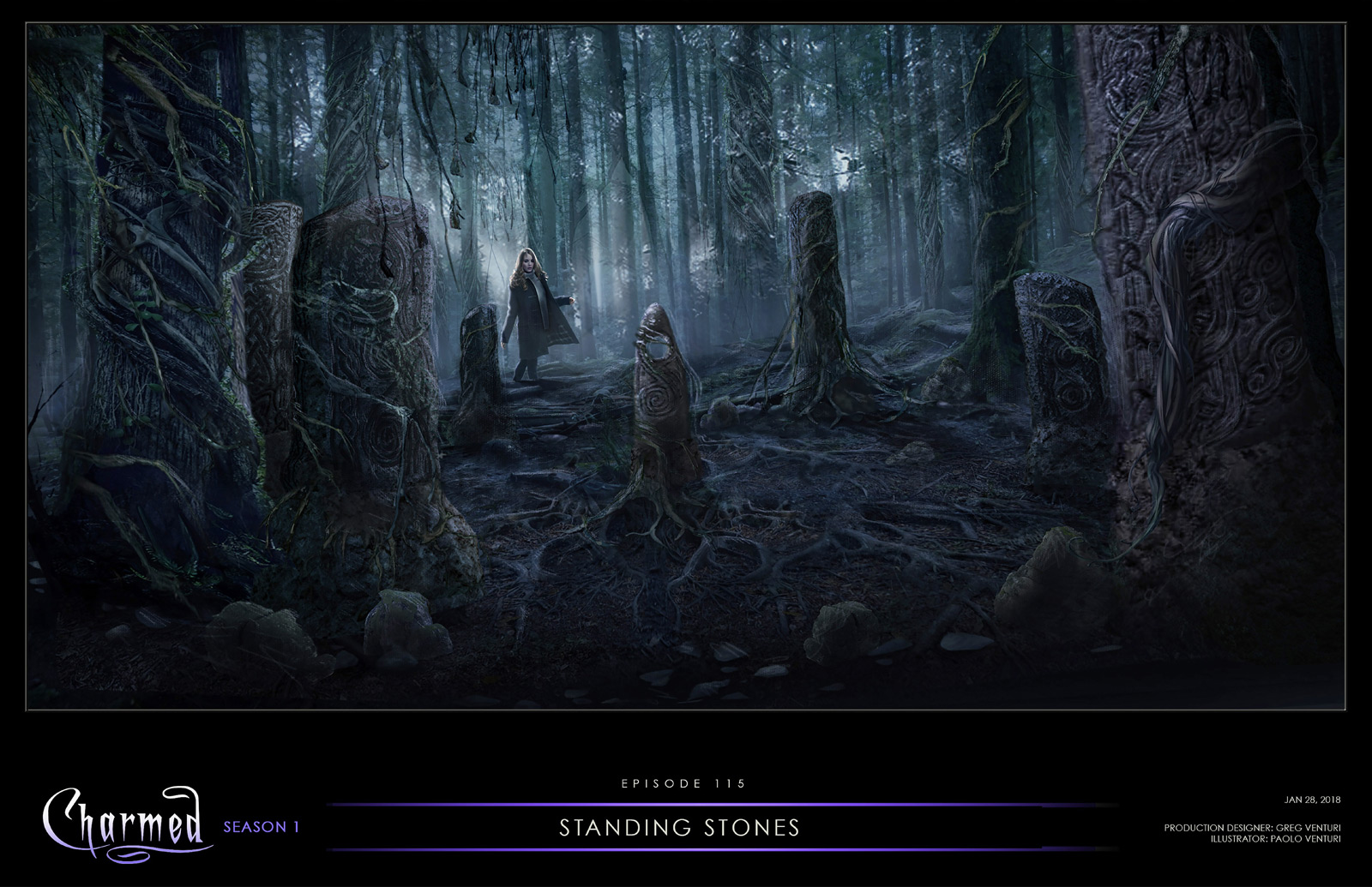 CHARMED: S1 - CELTIC STONE CLEARING - DRESSED LOCATION - CONCEPT ART