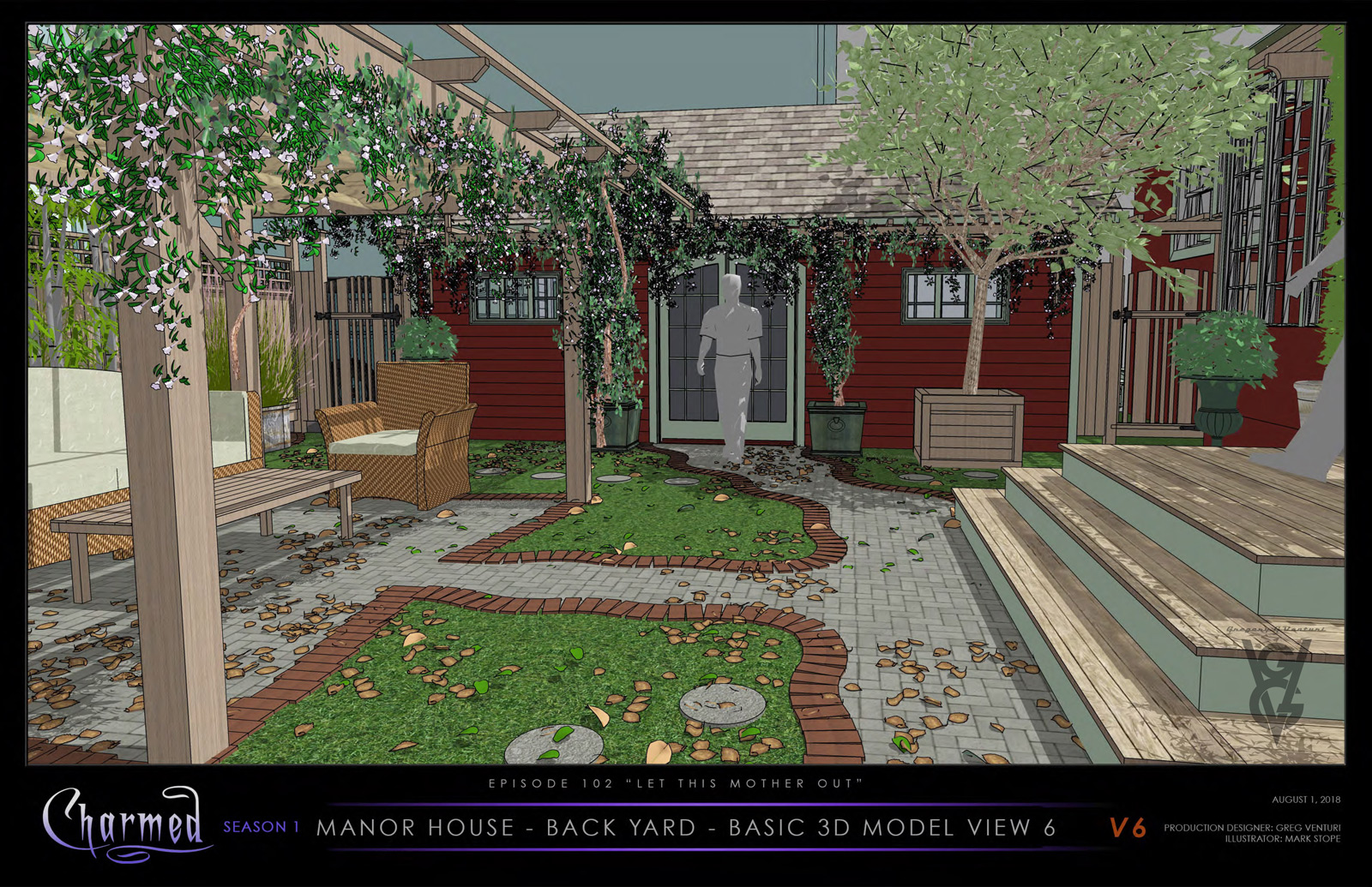 CHARMED: S1 - VERA MANOR - BACK YARD - 3D MODEL VIEW
