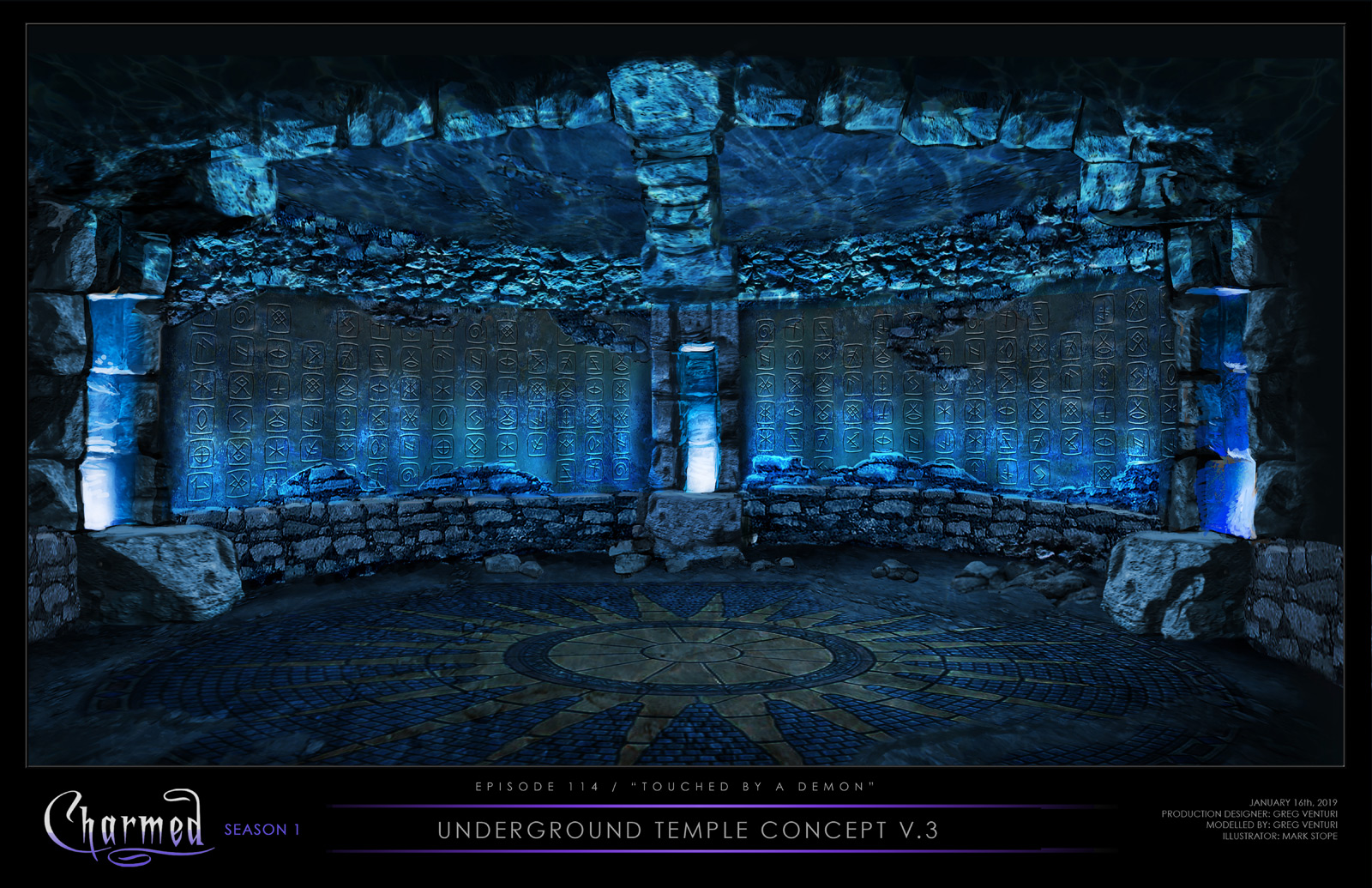 CHARMED: S1 - ANCIENT UNDERGROUND TEMPLE - CONCEPT ILLUSTRATION